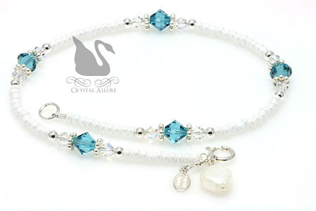 Swarovski Crystal Shell Charm Beaded Anklet (A101)
