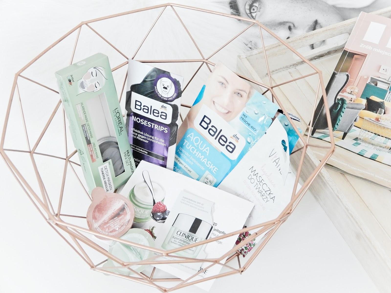 L'Oréal Detox Masken Multi-Masking Mini Set, Plastry na nos z węglem Balea, Balea Aqua Tuchmaske, Vianek wzmacniająca maseczka do twarzy z czarowną glinką,