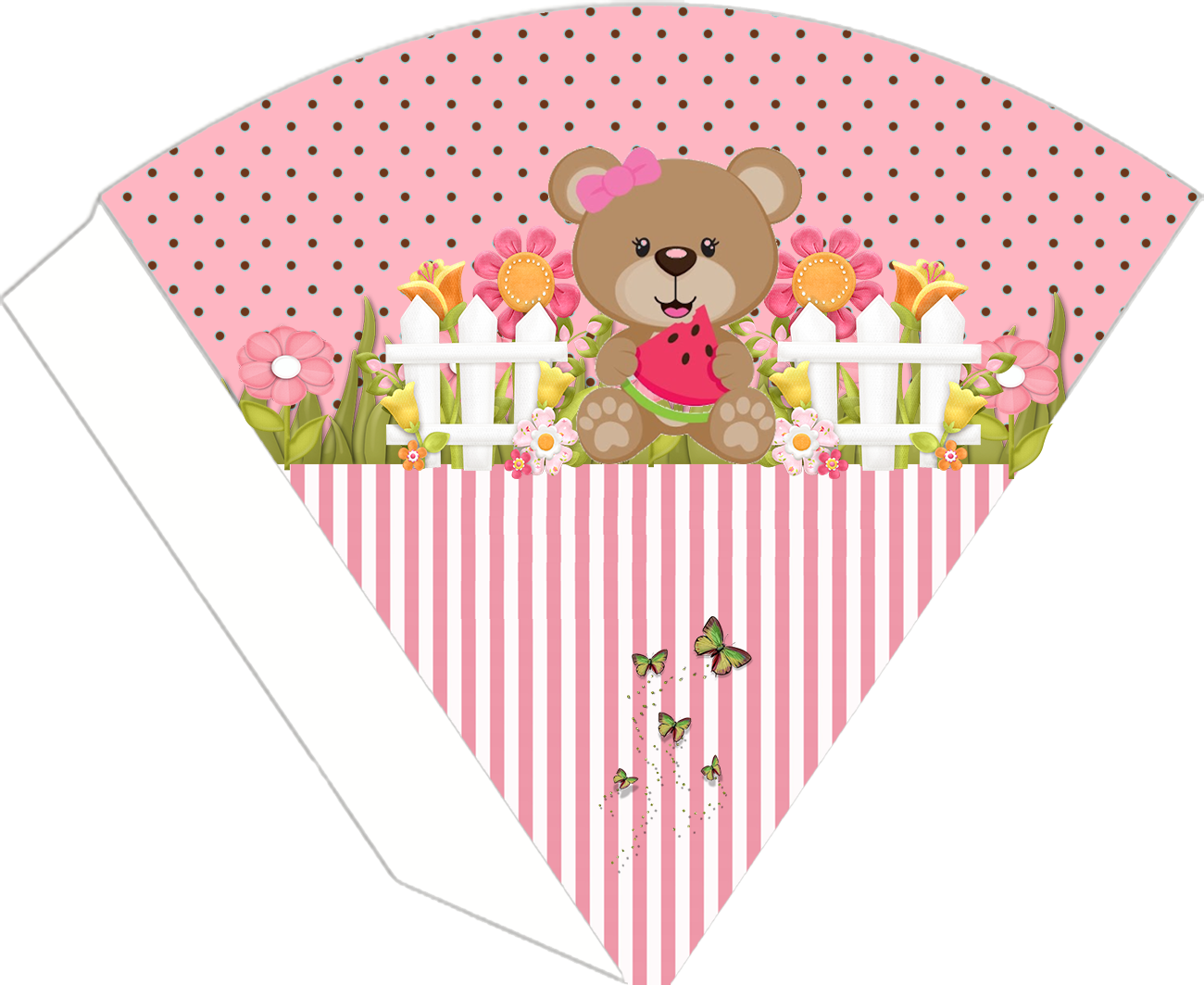 Girly Bear Eating Watermelon Free Printable Cones.