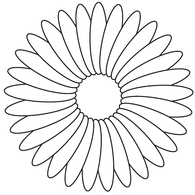 Flower Coloring Template Flower Coloring Page With Flowers To Color And Cut  Out Coloring Page