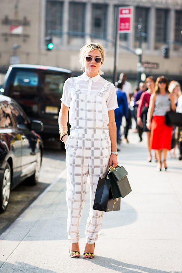 Plaid overalls street style