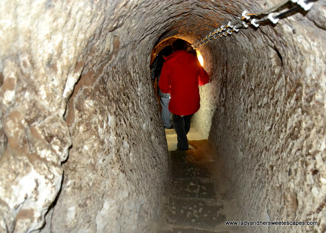 narrow staircase of Derinkuyu Underground City
