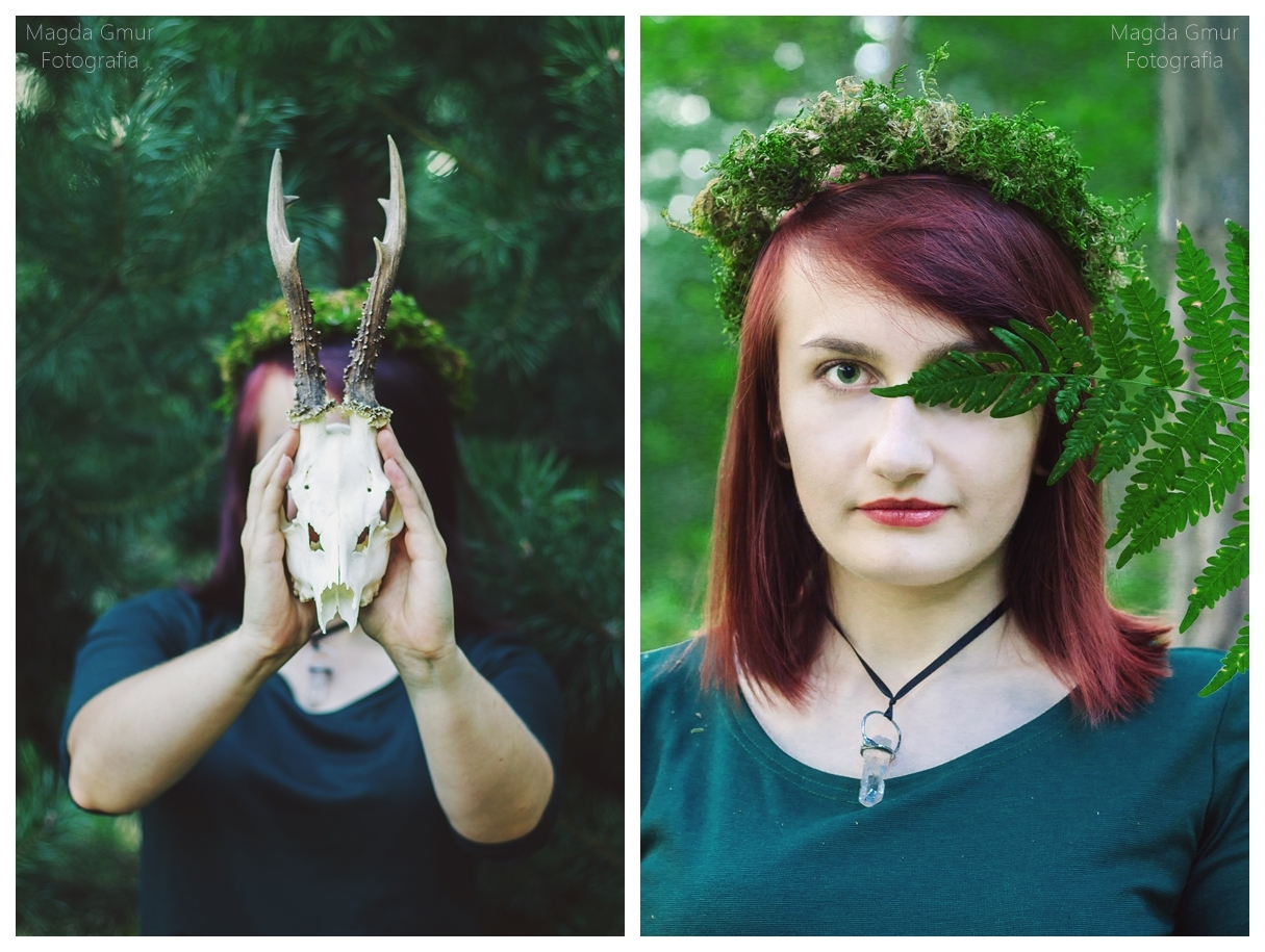 Sesja w lesie, zieleń, rogi jelenia sesja, rogi sesja