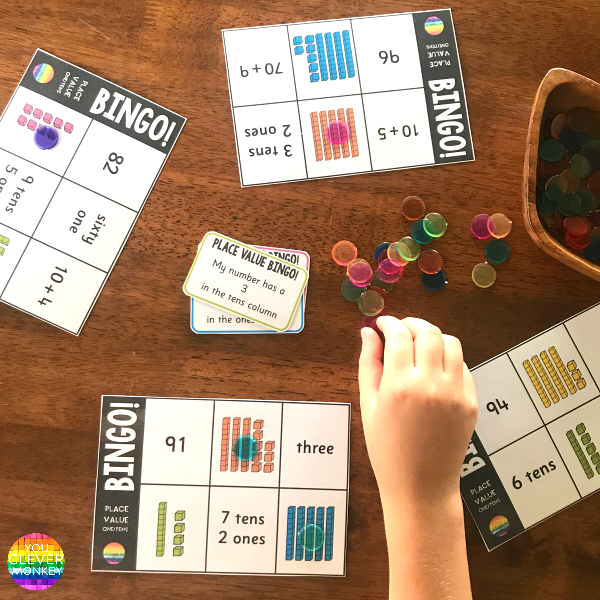 Place Value BINGO Game for learning tens and ones | you clever monkey