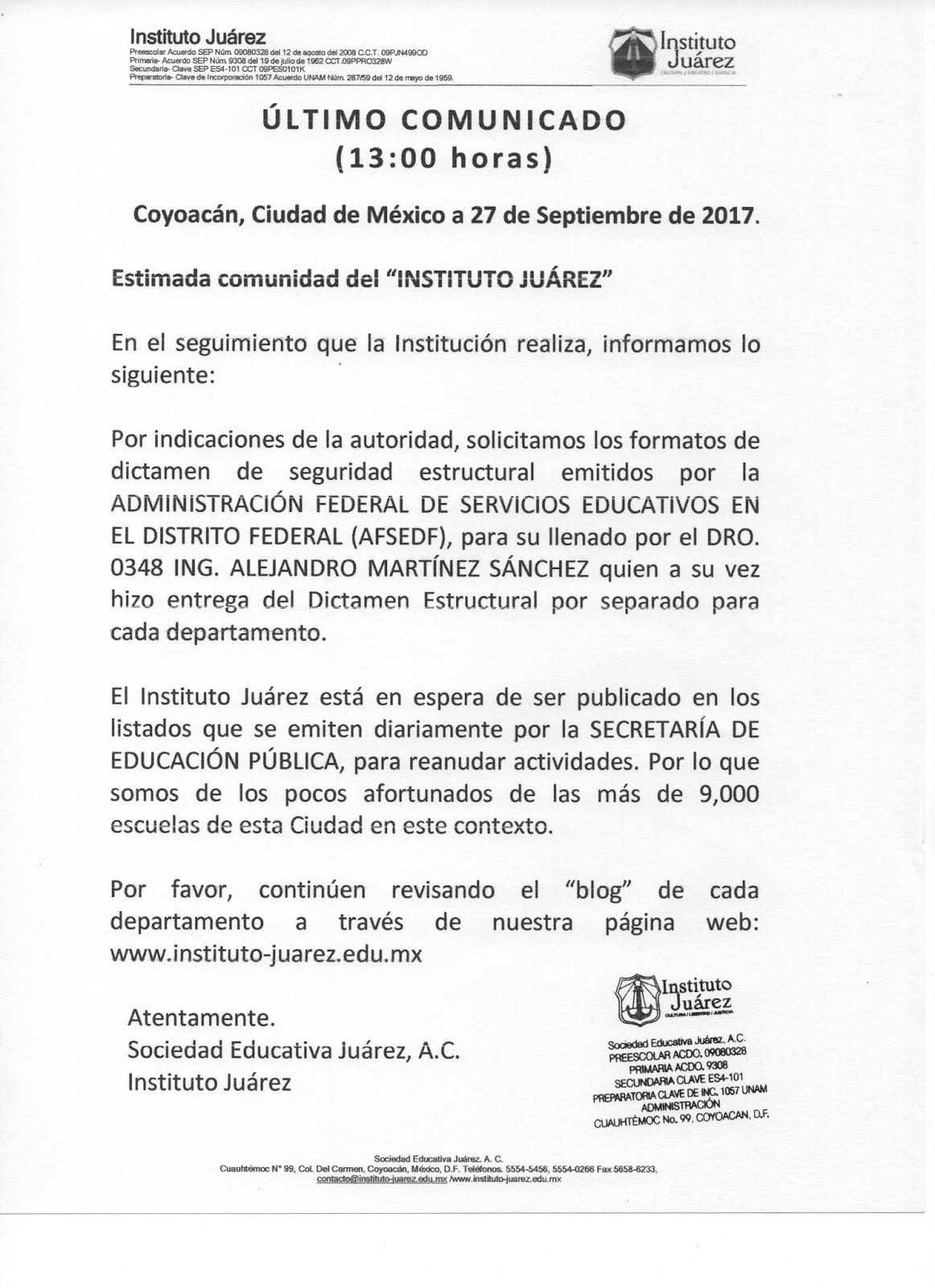 Instituto Juárez 3° Secundaria: 14-sep-2017