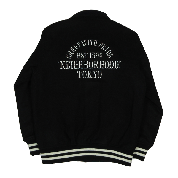 7b62f7a4ad Neighborhood Varsity Jacket. Available in Black and Navy. 162SZNH-JKM02