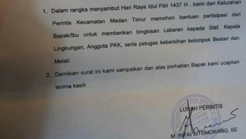 Surat edaran permintaan THR dari Lurah Perintis, Medan