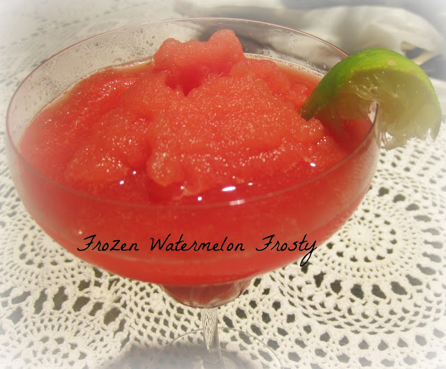 Frozen Watermelon Smoothie in a wine glass