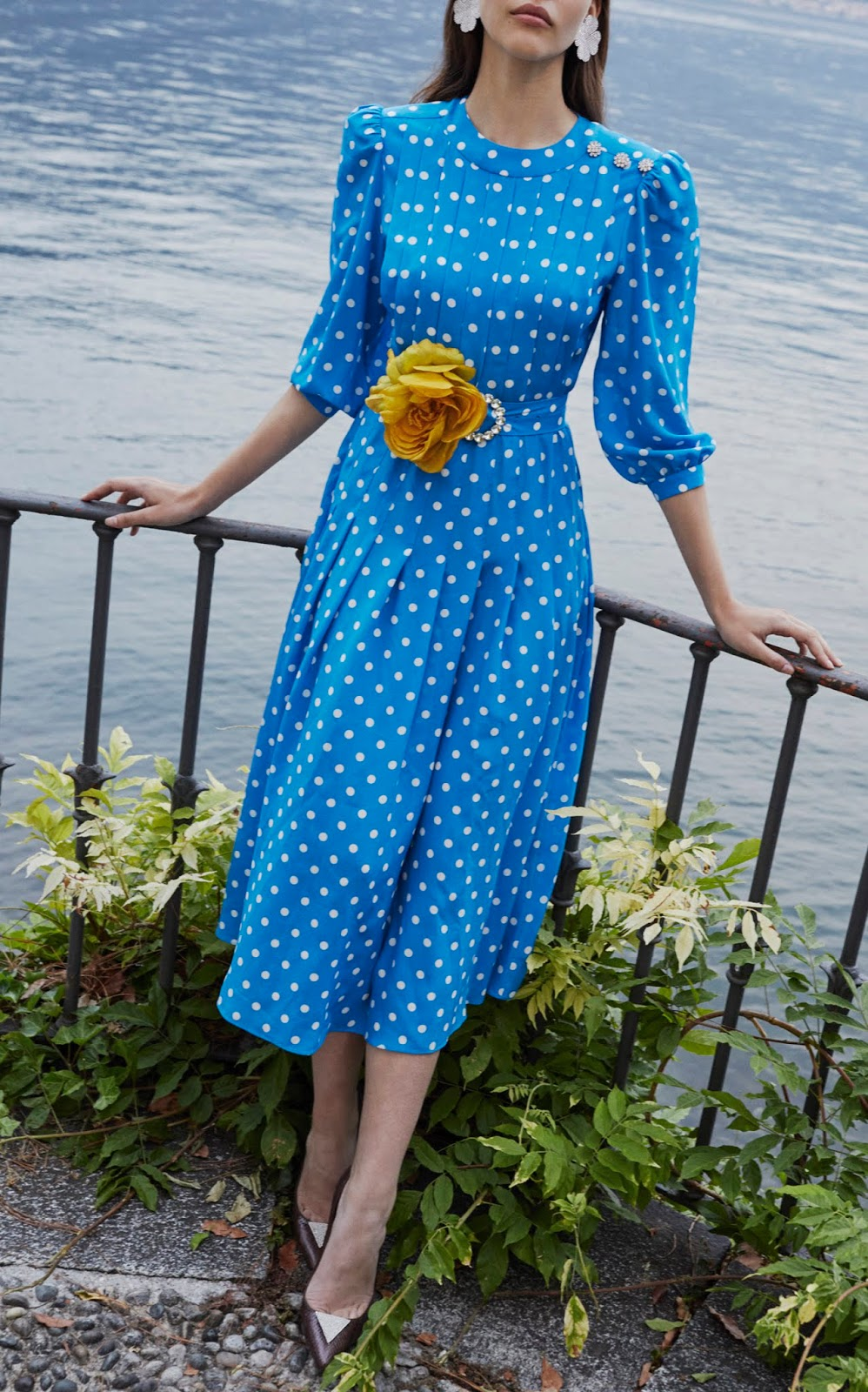 Alessandra Rich Blue Polka Dress