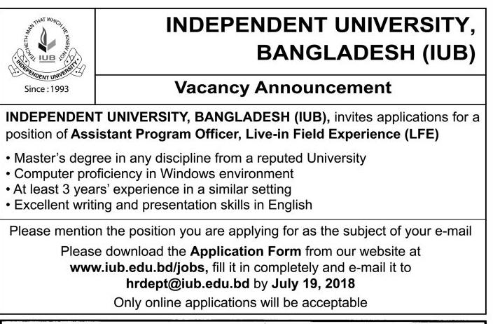 Independent University, Bangladesh (IUB) Job Circular 2018