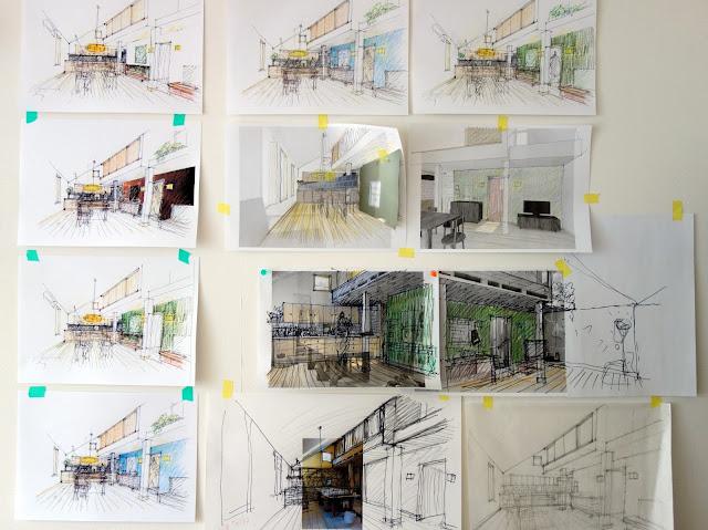 旗竿地に計画した狭小都市型の木造三階建て住宅 壁の色について