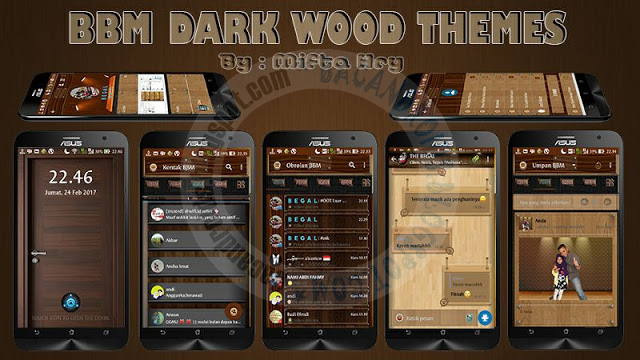BBM Mod Dark Wood Style Theme v3.3.0.16 Apk terbaru