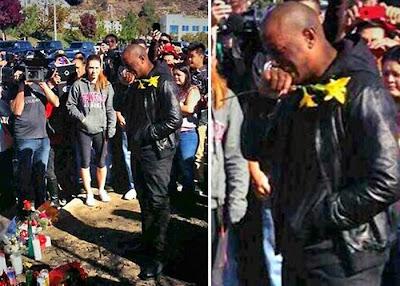 Actorul Tyrese Gibson plânge la locul accidentului lui Paul Walker