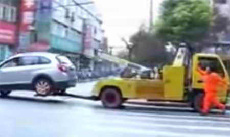 Tow Truck Vs Chinese Lady