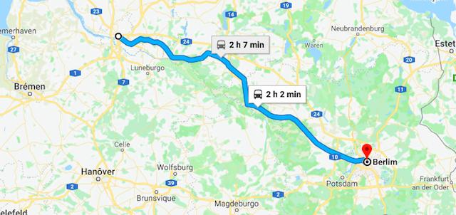 Mapa da viagem de trem de Hamburgo a Berlim
