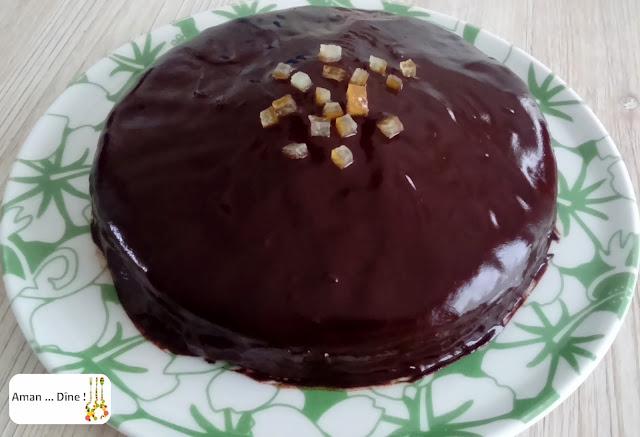Gâteau à l'orange confite et ganache au chocolat