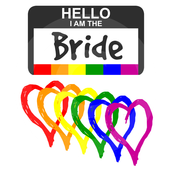 Rainbow Hearts Gay Wedding Name Badge