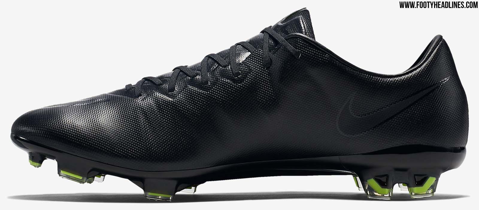 02e59e2ba The Swoosh outline on the new blackout Nike Mercurial Vapor X Soccer Cleats  boasts a reflection ...