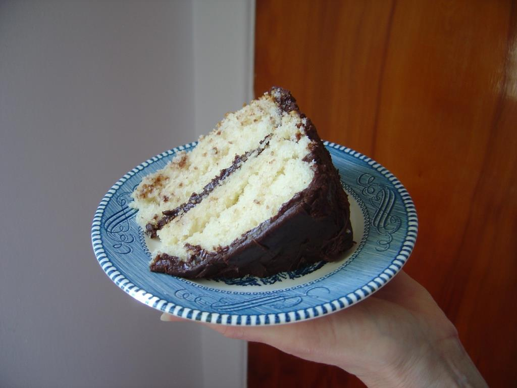 Piece of my Special White Cake with Cooked Fudge Frosting Image