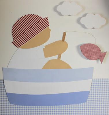 silueta infantil decoración  pescador habitación