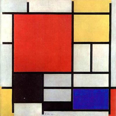 Obra minimalista de Piet Mondriaan, composión en rojo, amarillo, azul y negro (1926)