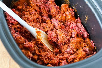 Slow Cooker Spicy Ground Beef for Tacos, Burritos, or Taco Salad found on KalynsKitchen.com