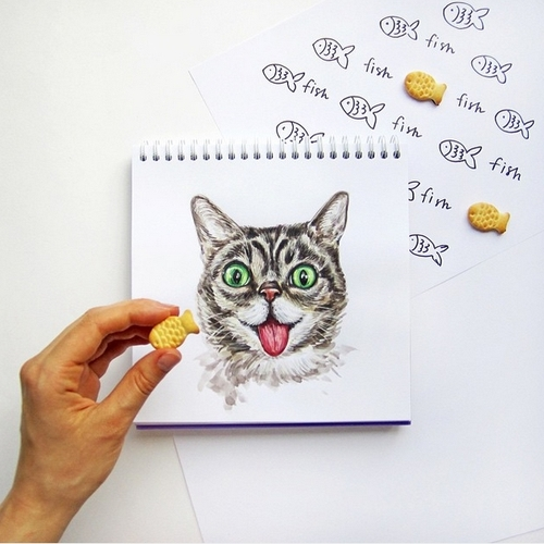 30-Who-wants-a-little-Fish-Valerie-Susik-Валерия-Суслопарова-Cats-and-Dogs-Interactive-Animal-Drawings-www-designstack-co