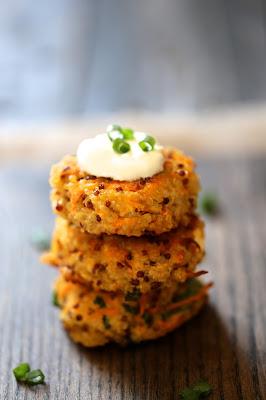 croquetets, quinoa, ail des ours, carotte, feta