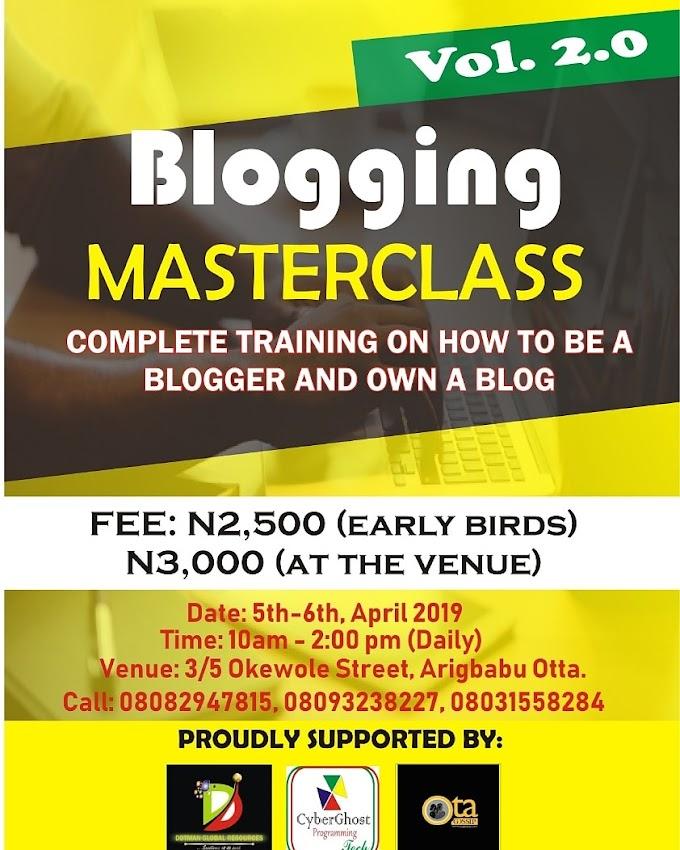 Event: BLOGGING MASTERCLASS 2.0