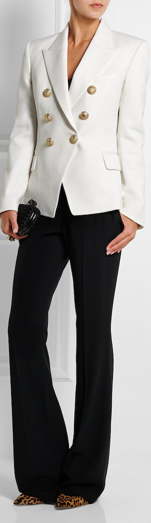 BALMAIN Double-Breasted Wool-Twill Blazer