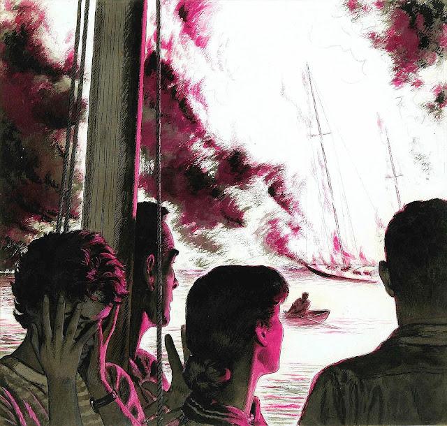 Edwin Georgi illustration of boat fire