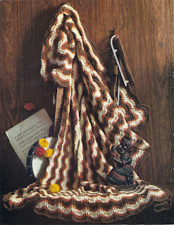Vintage Feather Fan Striped Afghan Knitting Pattern