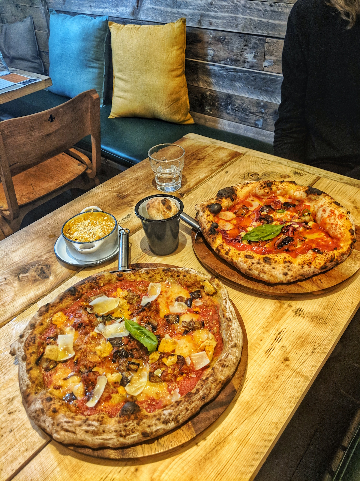 Pizzas from Purezza's entirely vegan menu