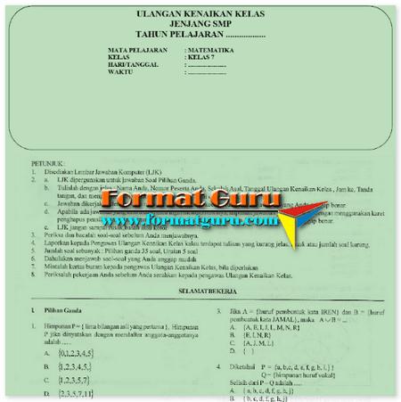 Soal Latihan UKK SMP Kelas 7 Mata Pelajaran Matematika