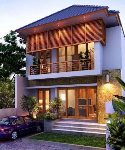 desain rumah kayu minimalis 2 lantai sederhana