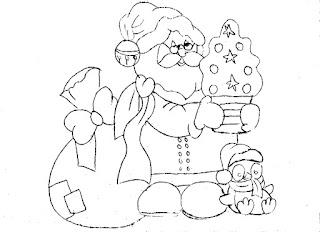 desenho papai noel com pinguim para pintar em tecido