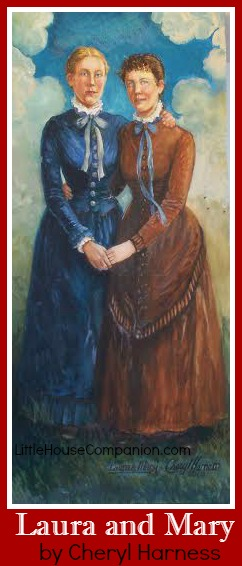 Painting of Laura and Mary Ingalls.