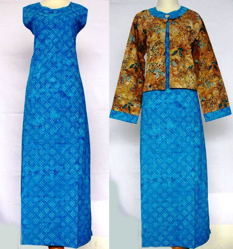 23 model baju gamis batik kombinasi blazer cantik dan terpopuler
