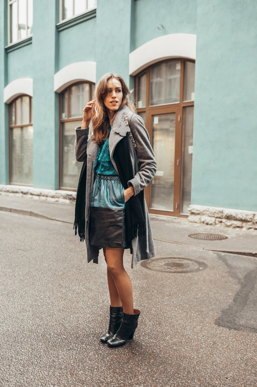 leather mini skirt grey coat winter outfit