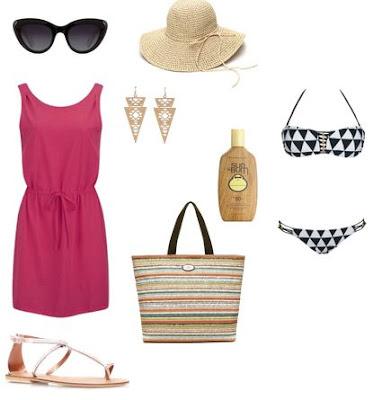 Dia de praia - vestido rosa, sandálias rasas, saco de praia, bikini, chapéu de palha, óculos de sol, protector solar, brincos