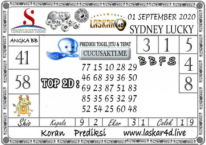 Prediksi Sydney Lucky Today LASKAR4D 01 SEPTEMBER 2020