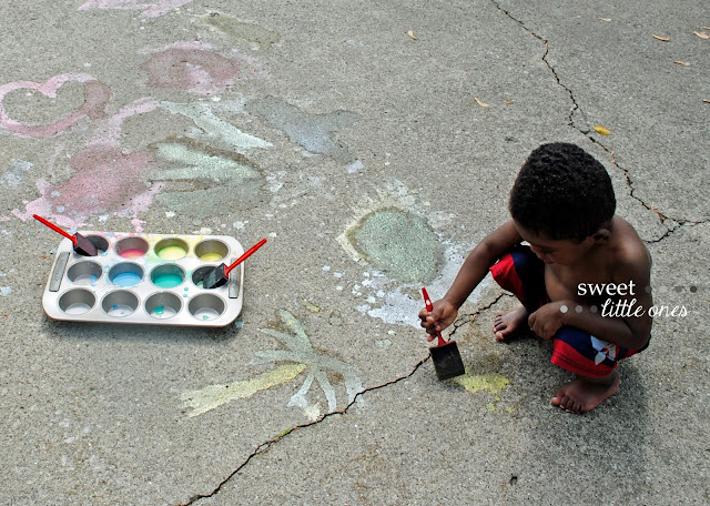 DIY Sidewalk Chalk Paint Recipe: So Easy and Fun - Perfect for Kids for the Summer!  - www.sweetlittleonesblog.com