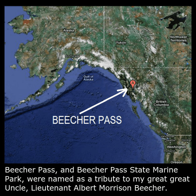 A map of Beecher Pass which was named after Lieutenant Albert Morrison Beecher