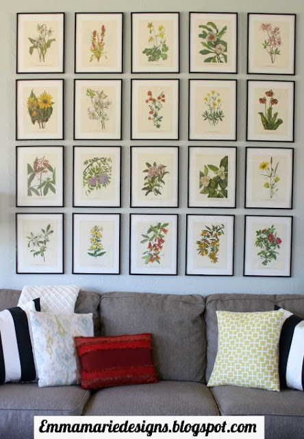 20 pretty botanical prints from a botanical book framed and hung in a statement making way over the sofa @ emmamariedesigns.blogspot.com