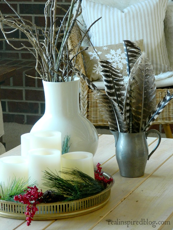 Rustic Green Neutral Christmas with Natural Elements, Coffee Table Styling Home Tour 2015