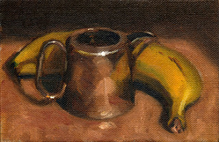 Oil painting of a small silver-plated jug beside a banana.