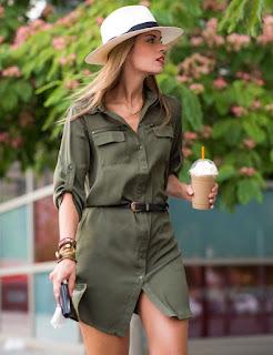 Imágenes Tendencias Moda Mujer Instagram Primavera Verano vestido camisero verde militar con cinto