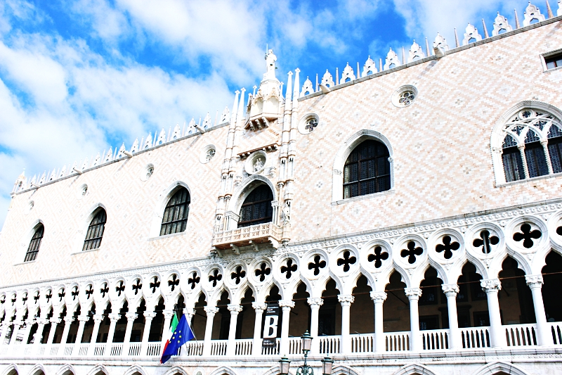 Gothic style The Doge's Palace Palazzo Ducale in Venice on Saint Mark square.