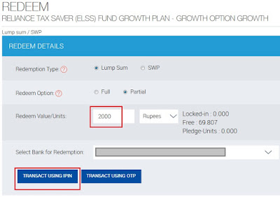 Reliance Mutual Fund Redemption Details