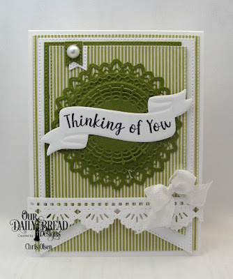 Our Daily Bread Designs, Wavy Words Stamp Die Duo, as well as Filigree Circles dies, Pierced Rectangles, Large Banners, Beautiful Borders Dies and Christmas Coordinating Paper Pad, designed by Chris Olsen
